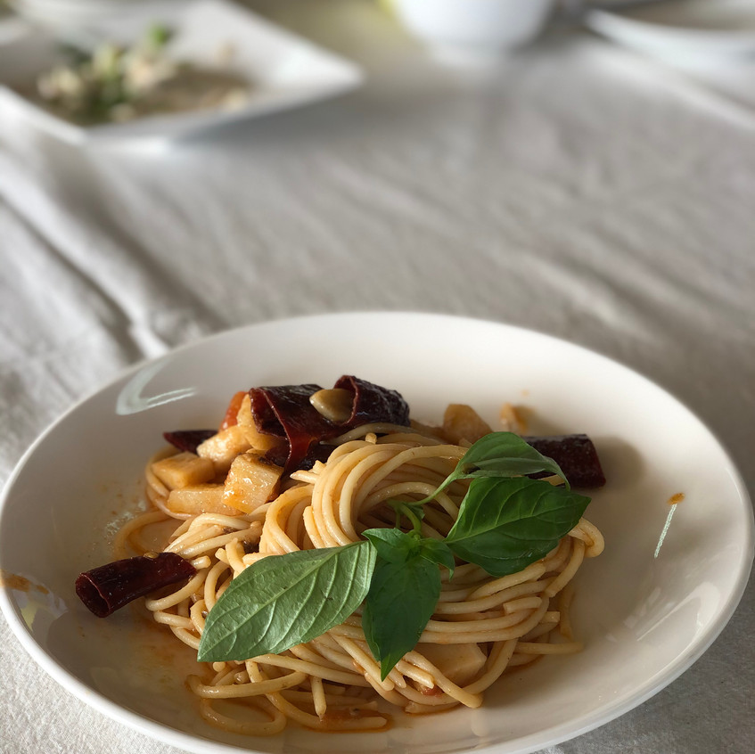 Pasta with pickled fish intestine