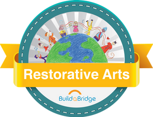 Restorative Arts Logo with Penciled people holding hands around earth with gold Restorative arts banner and BulidaBridge logo