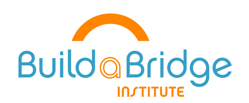 BuildaBridge Institute Logo with Blue font and orange arch