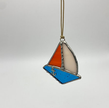 Pine Tree Glassworks Sailboat - Orange