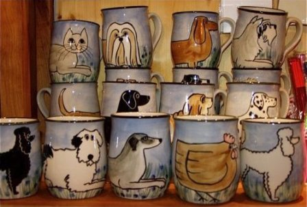 Animal mugs by Karen Donleavy