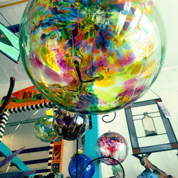 """10"""" blown-glass ball from Kitras"""