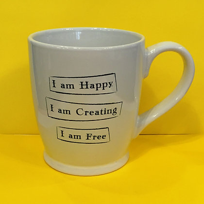 Iamtra Mug; Happy, Creating, Free