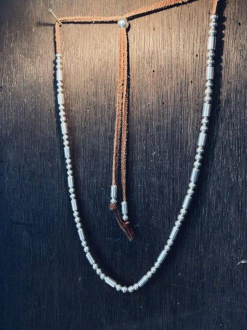 Custom Silver Beads Necklace-002 40cm
