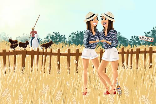 Illustration personnalisée (2 personnages + paysage)
