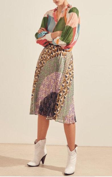 SUNCOO - Jupe plissée imprimé arty touche lurex - Ref: FELICIA