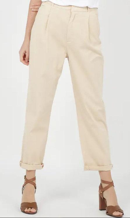 REIKO - Pantalon AMBRE - Chino à pinces taille haute large en coton Beige