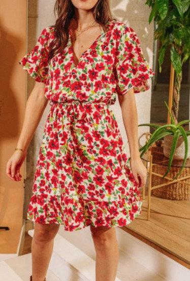 La Petite Etoile - Petite robe cache-cœur fleurie - Ref: SIGRID