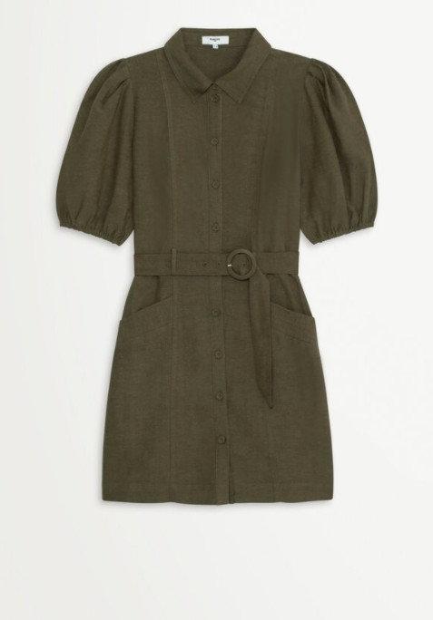 SUNCOO - Robe chemise courte ceinturée - Ref: CARLA