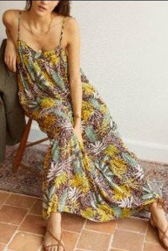 GARANCE  - Robe longue imprimée fines bretelles - Ref: GAMIL