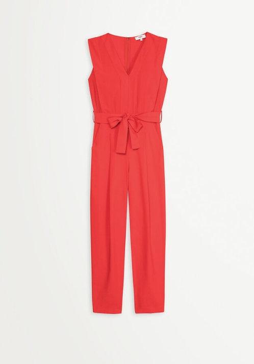 SUNCOO - Combinaison pantalon ceinturé colV - Ref TITIA rouge