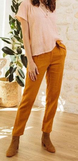 La Petite Etoile - Pantalon gaze de coton - Ref: MARLO - Coloris Ocre