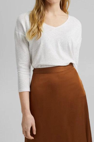 ESPRIT - T-shirt à manches longues, mélange de coton et lin - Ref : 031EE1K311