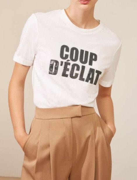 SUNCOO - T-shirt message à sequins COUP D'ECLAT - Ref: MURPHY