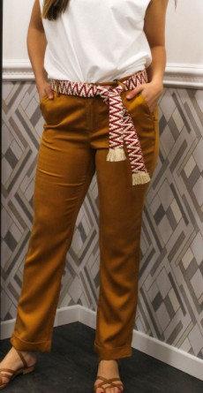 La Petite Etoile  - Pantalon chino fluide à ceinture - Ref: Aaron - Couleur Ocre