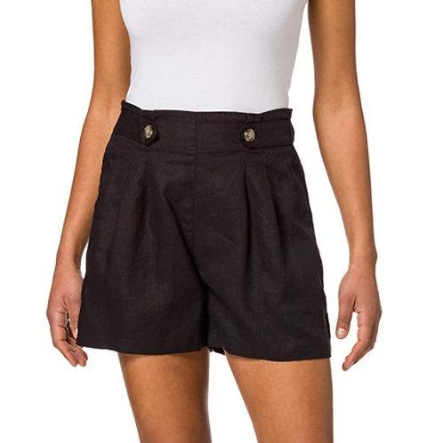ESPRIT - Short à pinces, taille haute, en lin noir - Ref : 041EE1C315
