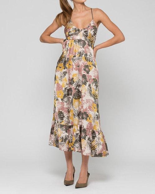 KOCCA - Robe longue en satin, à imprimé floral - Ref: NANDE