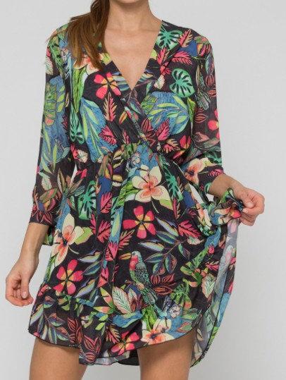 KOCCA - robe courte en georgette à imprimé floral - Ref: VASANTA