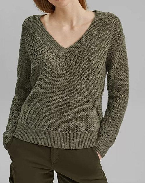 ESPRIT - Sweater kaki - Ref  041CC1I311