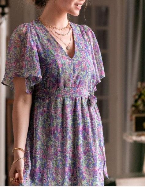 La Petite Etoile - Longue robe fleurie à volants - Ref: SHEYEN imprimé bleu
