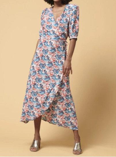La Fée Maraboutée - Robe portefeuille longue imprimée - Ref: DAISIE