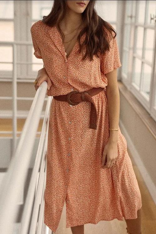 GARANCE - Robe chemise à nouer imprimé fleuri - Ref GAEL