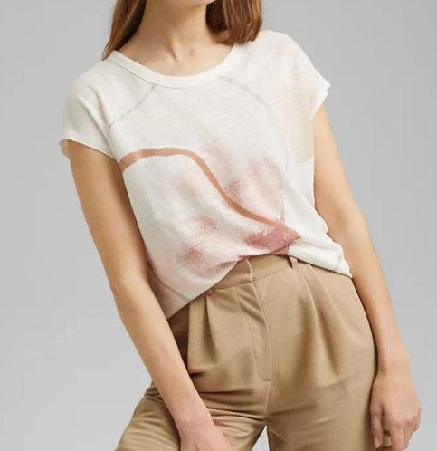 Esprit - Tee-shirt en lin avec imprimé - réf : 041EO1K304