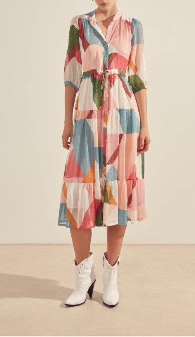 SUNCOO - Robe chemise longue multicolore imprimé graphique - Ref: CELENA