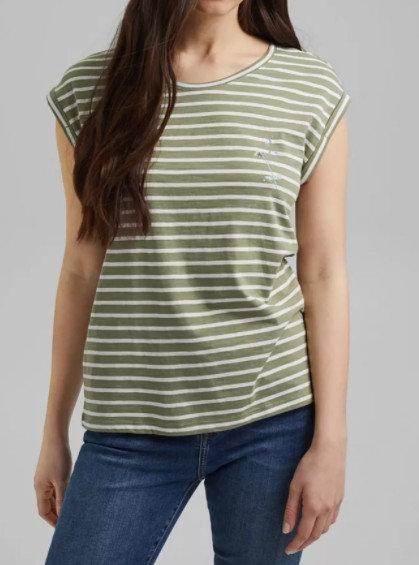 ESPRIT - T-Shirt à rayures vert en coton biologique - Ref 021EE1K338