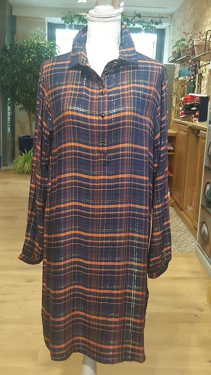 GARANCE - Robe imprimé à carreaux - Couleur marine Taille M