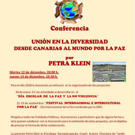 Conferencia Unión en la Diversidad, Desde Canarias al Mundo por la Paz.