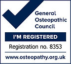 General Oseopathic Council. Registered Osteopath. Registration no. 8353