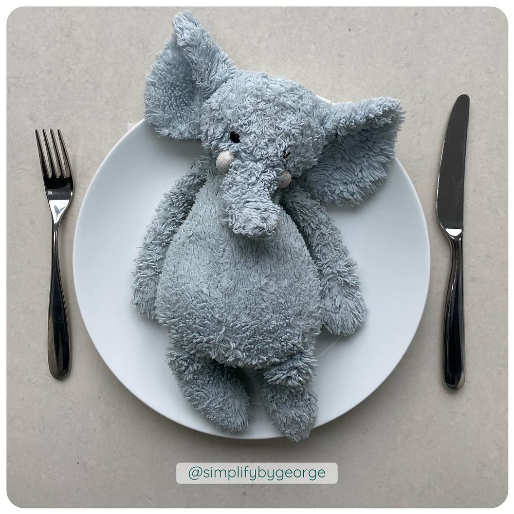 Picture of an elephant on a plate
