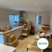 Kitchen with packing boxes