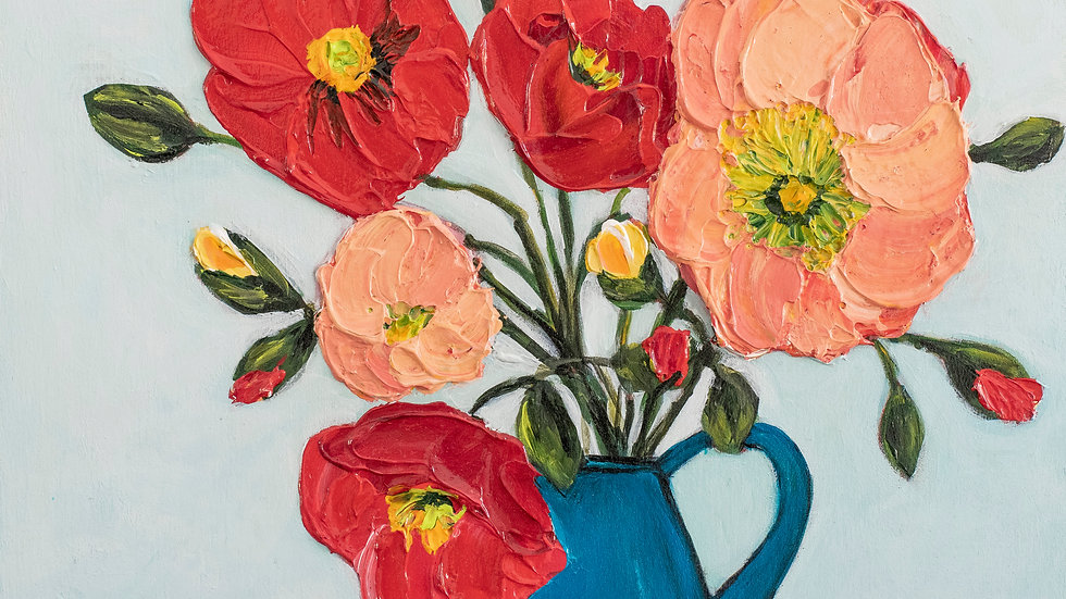 Poppies on Teal