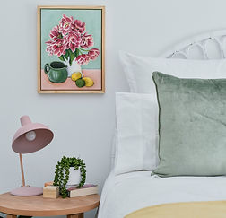 Dancing tulips painting, styled bedroom setting