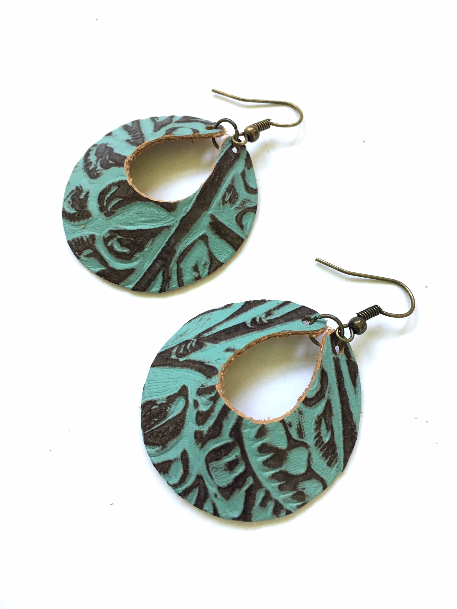 Turquoise & brown Yum Hoops - small