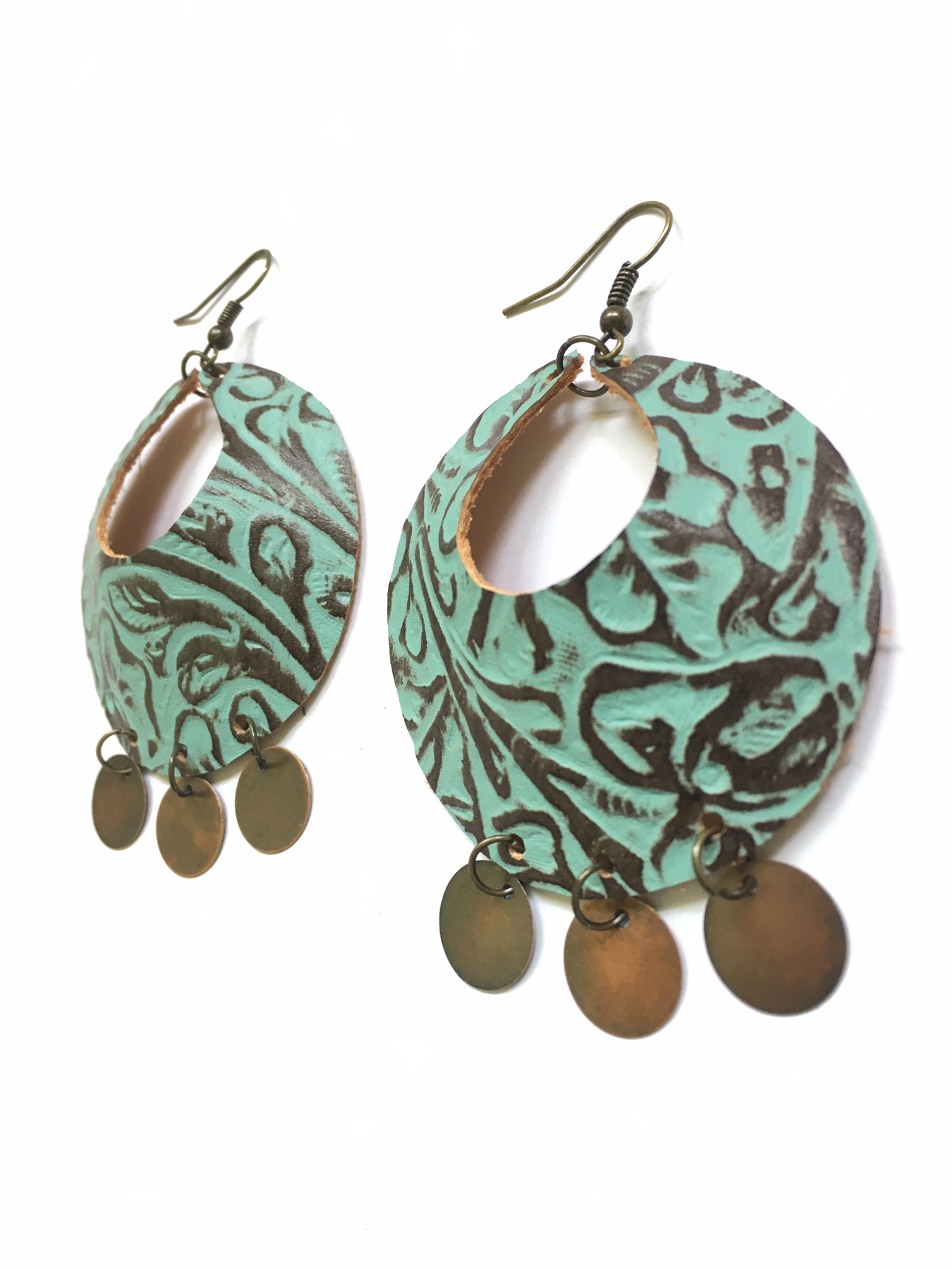 Turquoise & brown Yum Hoops - large