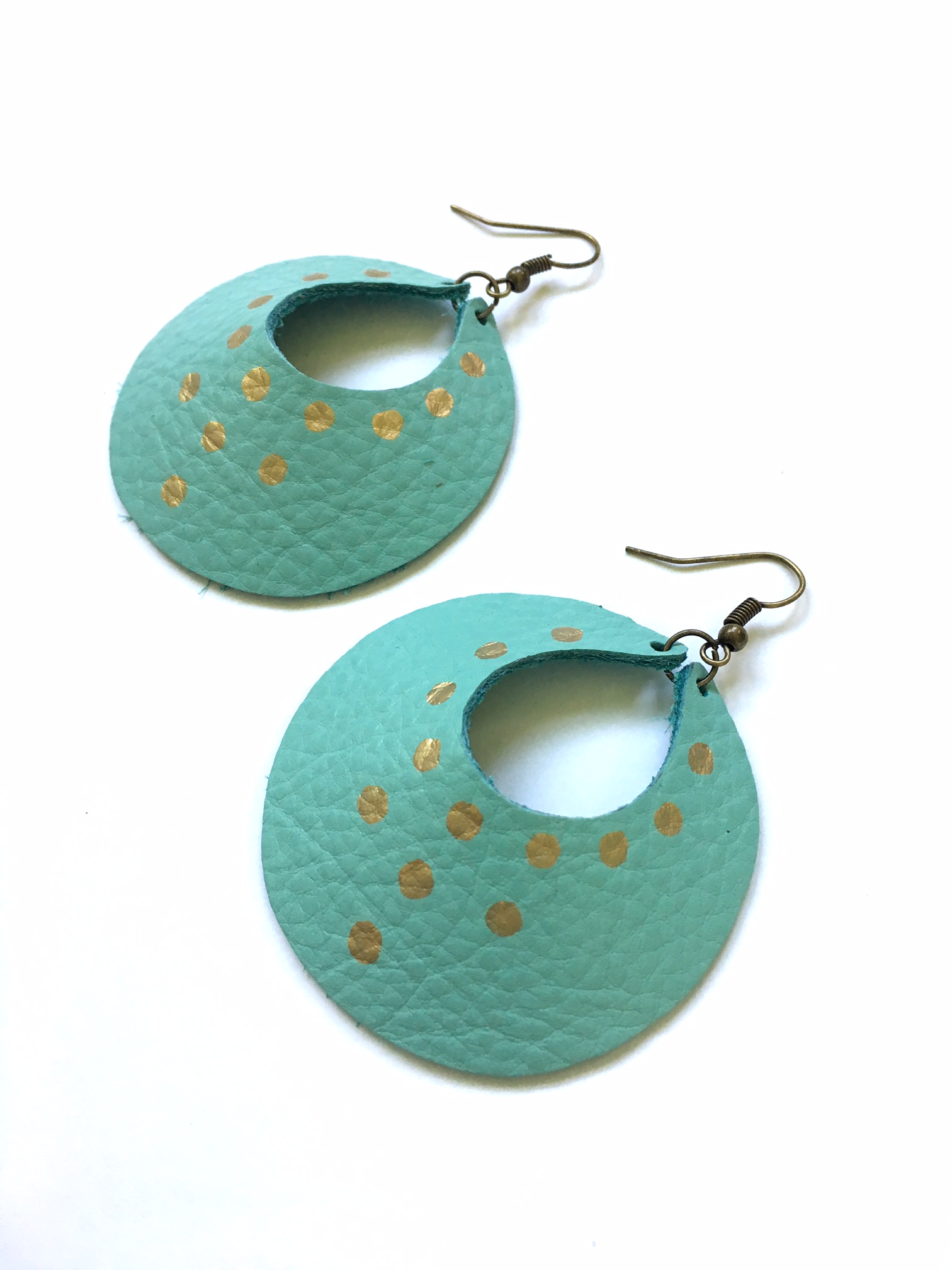 Turquoise & gold Yum Hoops - large