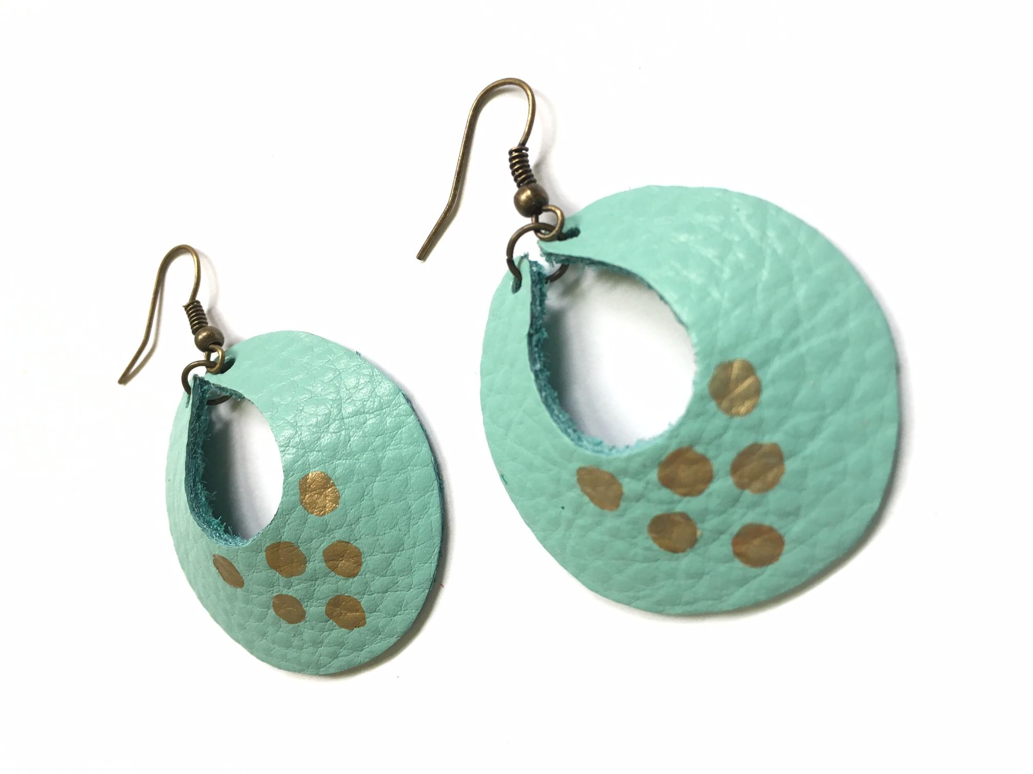 Turquoise & gold Yum Hoops - small