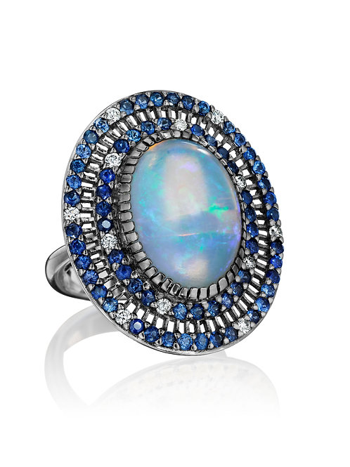 Opal, Blue Sapphires and white Diamonds 18K Gold Ring