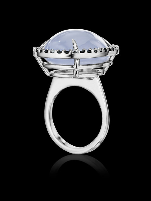 Chalcedony with Black and White Diamonds set in 18K Gold Ring