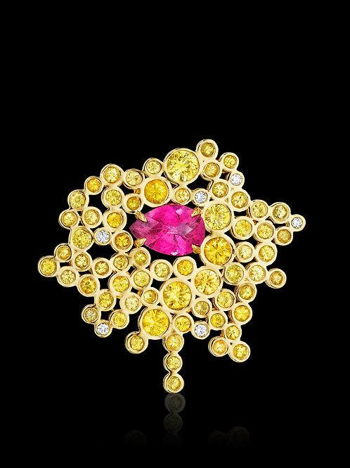 Yellow Sapphires, Pink Tourmaline & Diamonds 18K Convertable Gold Brooch-Pendant