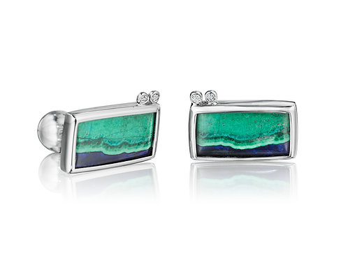 Platinum Diamond Azurite Malachite Cufflinks