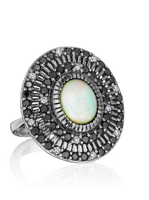 Opal, Black and White Diamonds 18K Gold Ring