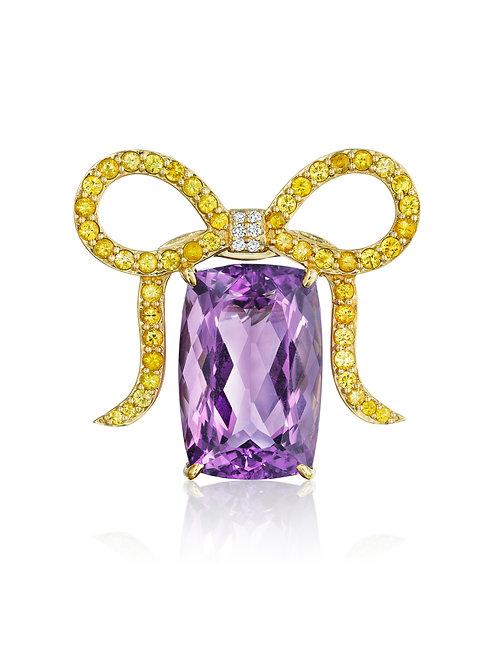Amethyst, Yellow Sapphires & Diamonds 18K Yellow Gold Brooch-Pendant