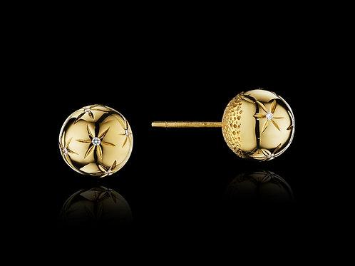 Diamond 18K Yellow Gold Stud Earrings