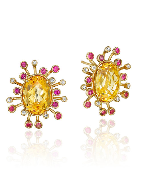 Citrine Pink Sapphire Diamond 18K Gold Stud Earrings