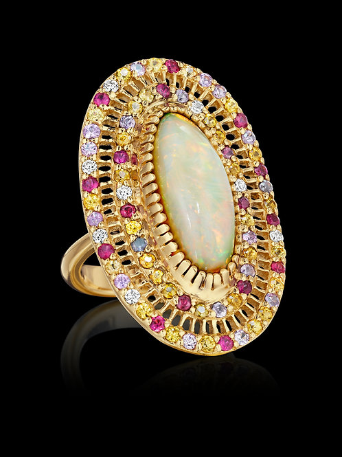 Opal, Yellow and Pink Sapphires and Diamonds 18K Gold Ring