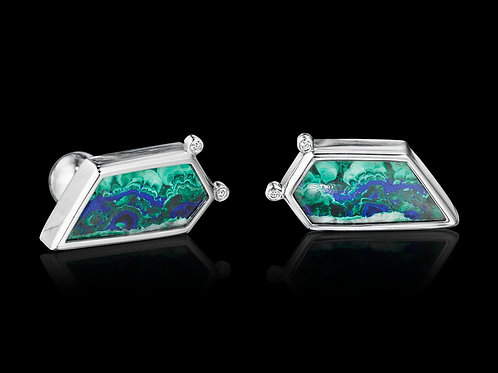 Platinum Diamond Azurite Malachite Cufflinks